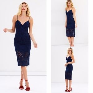 Revolve Bardot Gia Dress Midi Navy Blue Lace